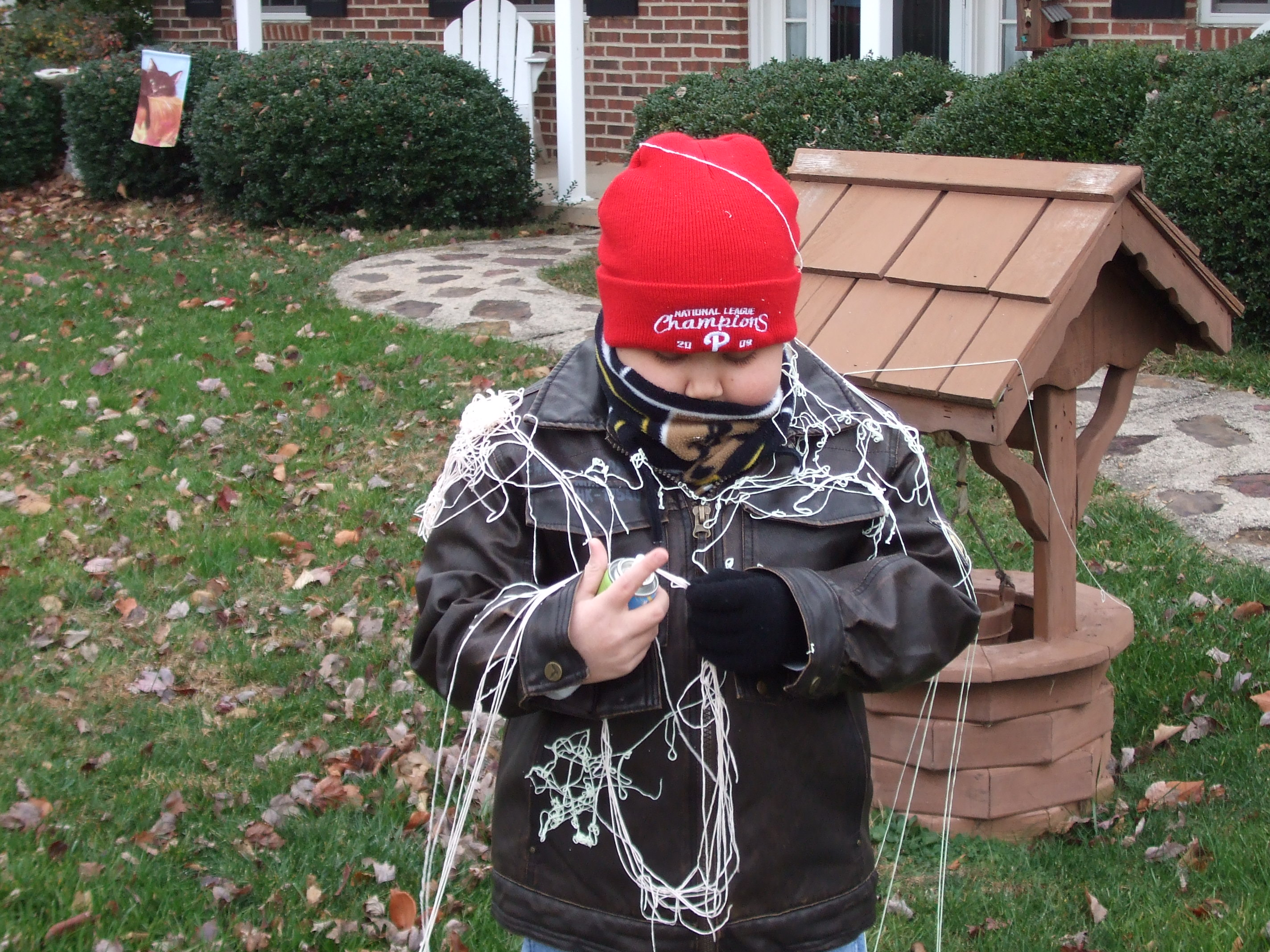 Austin got Eli with the Silly String as well.